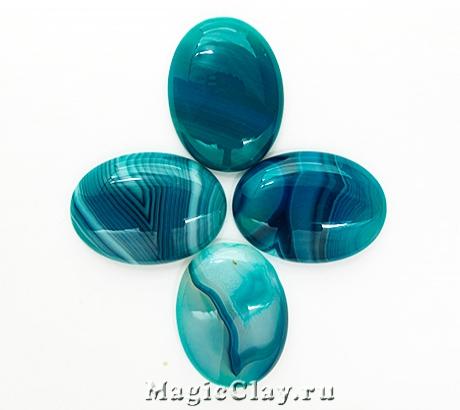 Кабошон Агат Овал 30х22х7мм, цвет Голубой