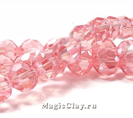 Бусины Граненые Блеск Розовый 8мм, 30шт