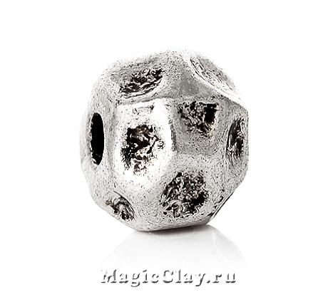 Бусина Каменный Шар 10мм, цвет серебро, 1шт
