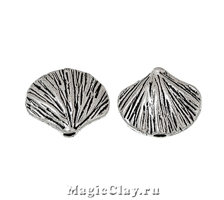 Бусина Ракушка 12х10мм, цвет серебро, 1шт