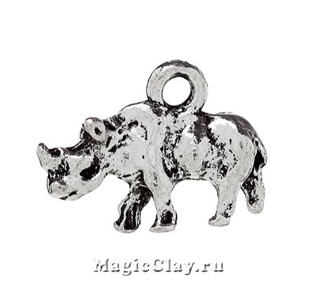 Подвеска Носорог 16х11мм, цвет серебро, 1шт