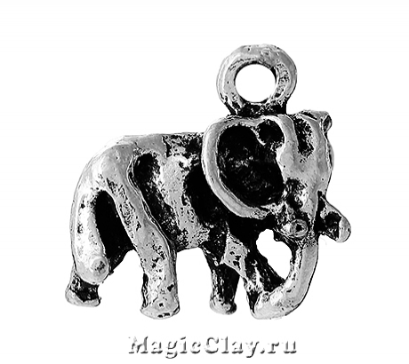 Подвеска Слон Саванна 14х13мм, цвет серебро, 1шт