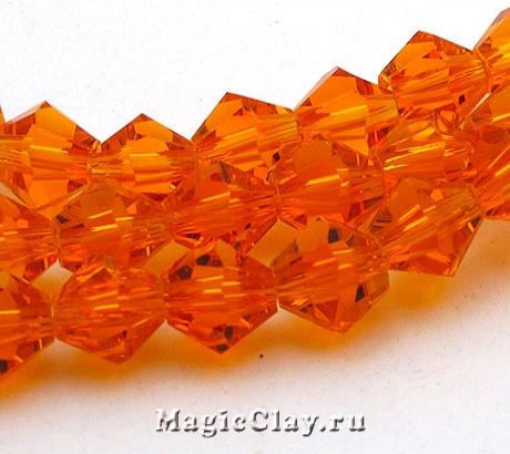 Бусины биконусы Оранжевый Блеск 6мм, 1нить (~50шт)