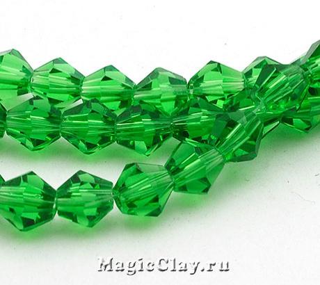 Бусины биконусы Зеленый Лиственный 6мм, 1нить (~50шт)