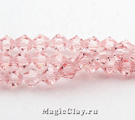 Бусины биконусы Розовый Нежный 4мм, 1нить (~120шт)