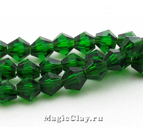 Бусины биконусы Зеленый Лес 4 мм, 1нить (~120шт)