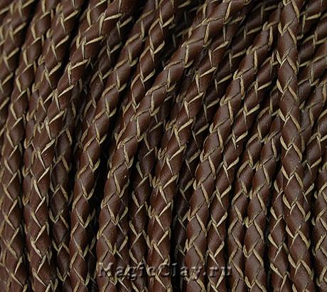 Шнур кожаный Плетеный Коричневый 3мм, 1 метр