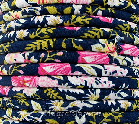 Шнур текстильный 7х5мм Синий Гладиолус, 1 метр