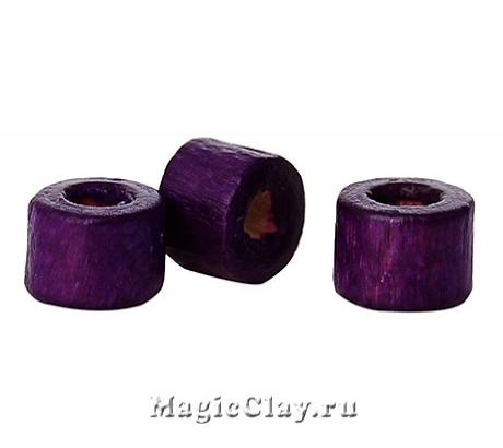 Бусины деревянные Замбия 4мм, цвет фиолет, 1уп (~200шт)