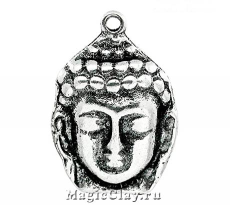 Подвеска Лик Будды 29х20мм, цвет серебро, 1шт