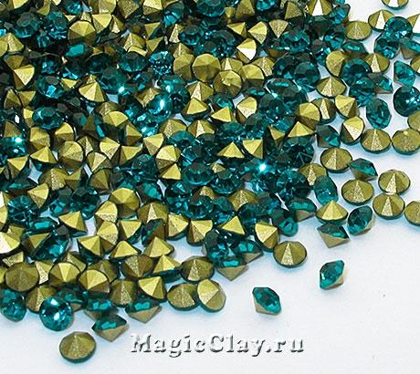 Стразы конусные для бижутерии SS12, цвет Бирюзовый