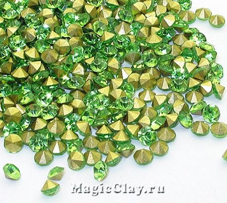 Стразы конусные SS12 (3-3,2мм), цвет Зеленый, 1уп (~150шт)