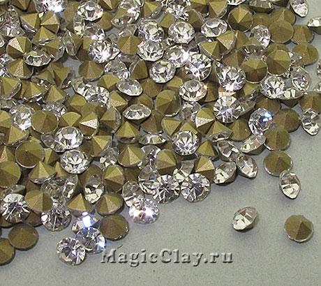 Стразы конусные для бижутерии SS16, цвет Прозрачный Кристалл