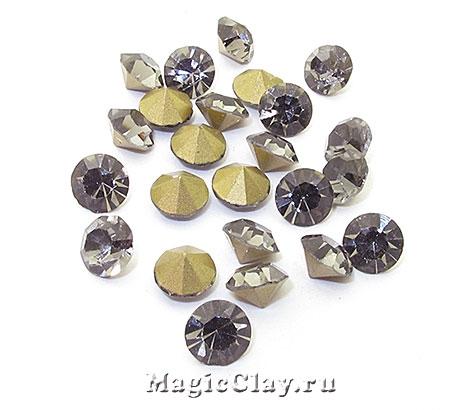 Стразы конусные для бижутерии SS28, цвет Серый