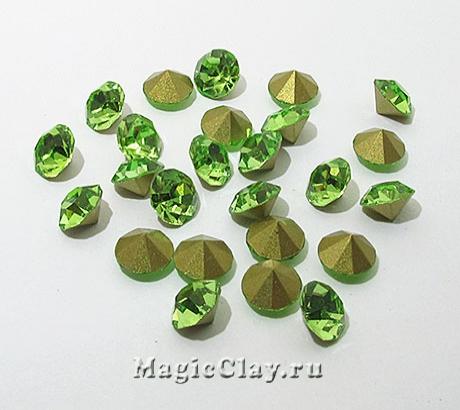 Стразы конусные для бижутерии SS28, цвет Зеленый
