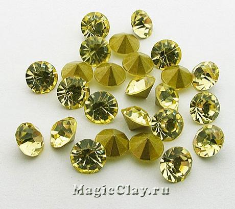 Стразы конусные для бижутерии SS28, цвет Светлый Желтый
