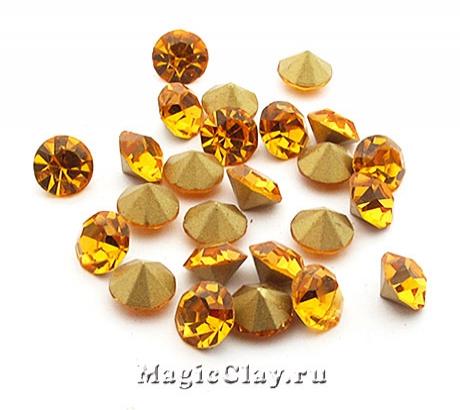 Стразы конусные для бижутерии SS28, цвет Желтый