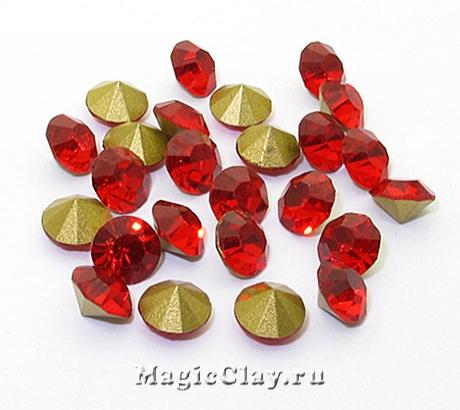 Стразы конусные для бижутерии SS28, цвет Красный