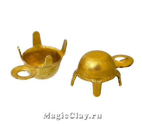 Держатели-цапы для страз, Подвеска 3мм, цвет золото, 1 уп.