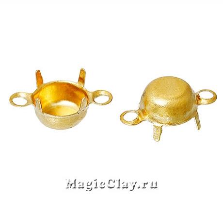 Держатели-цапы для страз, Коннектор 6мм, цвет золото, 1 уп.