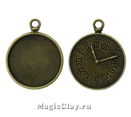 Основа для кулона Часы 34х28мм, цвет античная бронза, 1шт