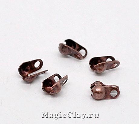 Концевики для цепочек с шариками 2,4мм, цвет медь, 30шт