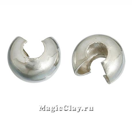 Зажимные маскирующие бусины, 5мм, цвет серебро стальное, 1уп (~30шт)