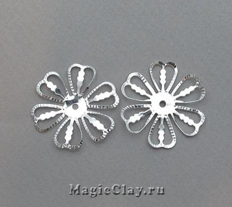 Шапочка для бусины Ажурный Цветок 28мм, цвет серебро, 5шт