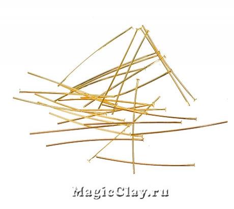 Пины гвоздики, цвет золото 30х0,5мм, 1уп (500шт)