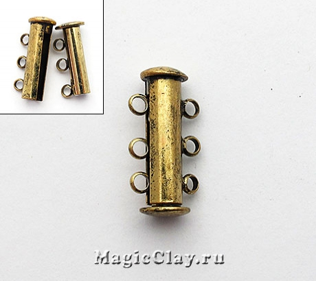 Замок Магнитный на 3 нити 21х10мм, цвет античная бронза, 1шт