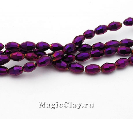 Бусины граненые Овал Пурпурное Сияние 6х4мм, 1нить (~70шт)