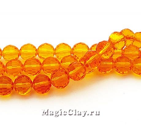 Бусины Граненые Оранжевые Вспышки 10мм, 30шт