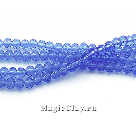 Бусины рондели Синие Глаза 4х3мм, 1нить (~145шт)