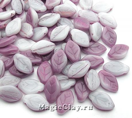 Бусины Листики Розы 12мм, Фиолетовая Дымка, 50шт