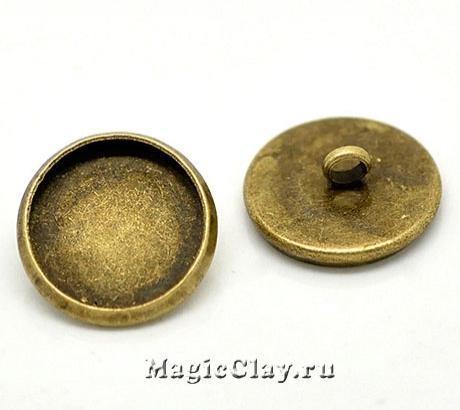 Основа для пуговиц 14мм, цвет античная бронза, 1шт