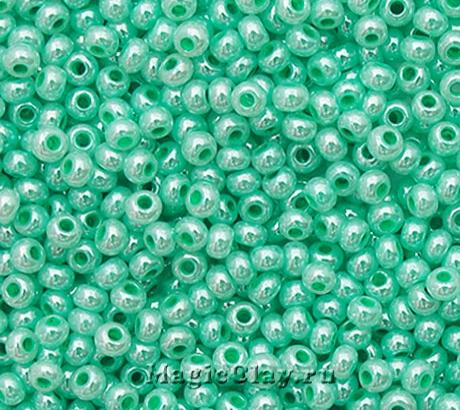 Бисер чешский 10/0 Алебастр, 37358 Pearl Turquoise Green, 41гр