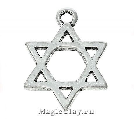 Подвеска Звезда Давида 21х16мм, цвет серебро, 1шт