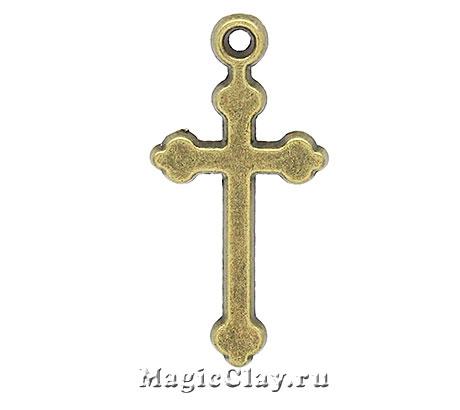 Подвеска Крестик 29х14мм, цвет античная бронза, 1шт