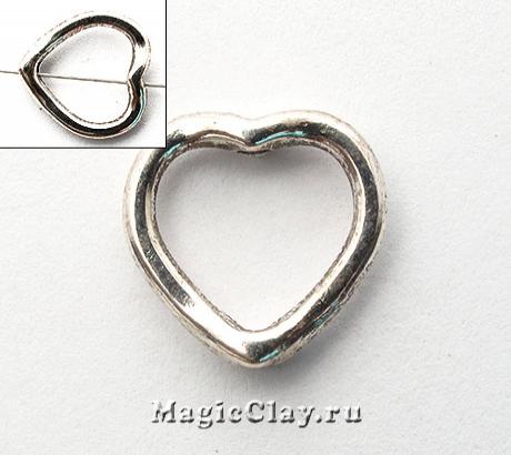 Рамка для бусины Сердце 11х13мм, цвет серебро, 8шт
