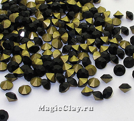 Стразы конусные для бижутерии SS4, цвет Черный