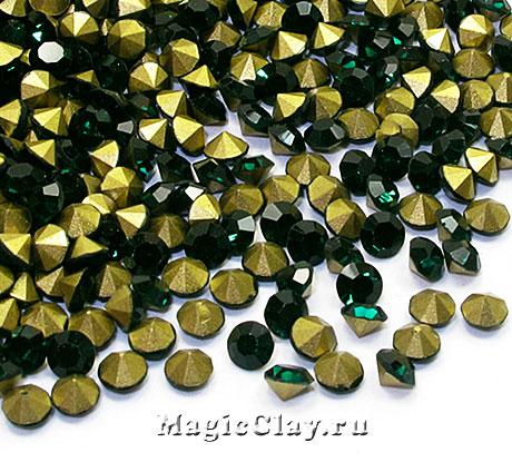 Стразы конусные SS4 (1,5-1,6мм), цвет Изумрудный, 1уп (~710шт)