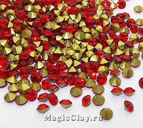 Стразы конусные для бижутерии SS4, цвет Красный