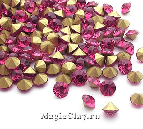 Стразы конусные для бижутерии SS4, цвет Розовый
