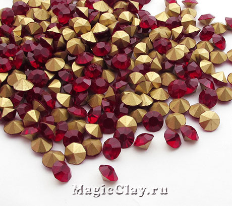 Стразы конусные для бижутерии SS4, цвет Рубиновый