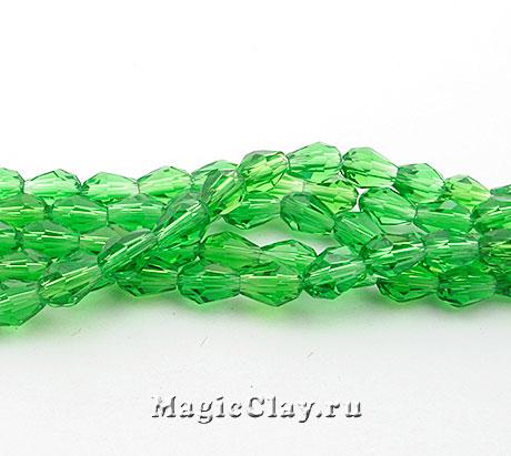 Бусины Капля Зеленая Листва 6х4мм, 1нить (~35шт)