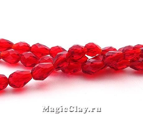 Бусины Капля Рубиновое Сияние 6х4мм, 1нить (~35шт)