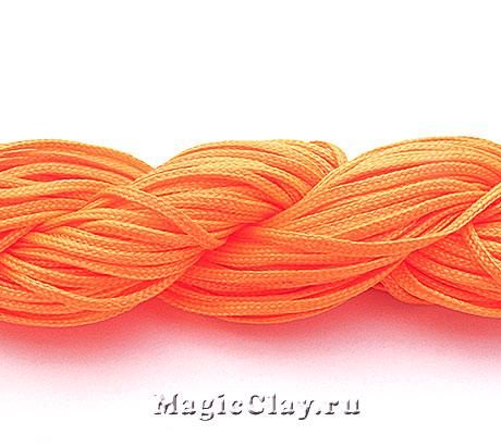 Шнур нейлоновый для Шамбалы 1мм Оранжевый Яркий, 1 моток (~26метров)