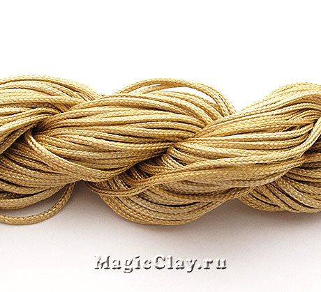 Шнур нейлоновый для Шамбалы 1мм Бежевый, 1 моток (~26метров)