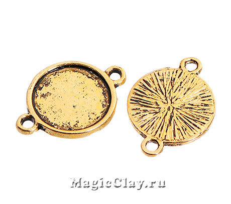 Коннектор-Основа Круг 14мм, цвет золото, 5шт