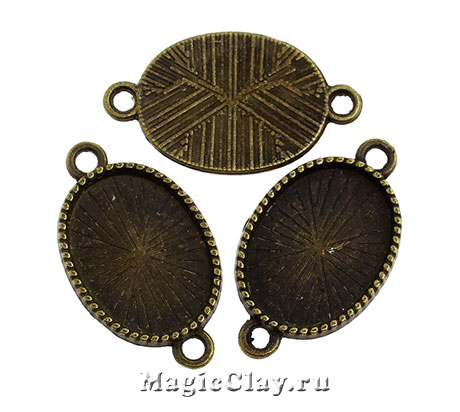 Коннектор-Основа Овал Резной Кант 27х16мм, цвет античная бронза, 1шт
